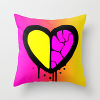 Broken Heart Throw Pillow by Ava's Demon Print Shop!