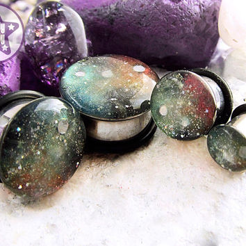 """Space is Deep Red Green Nebula / Galaxy Plug / Gauge ONE Plug Only 0g, 00g, 7/16"""" / 8mm, 10mm, 11mm"""