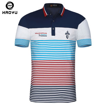 Embroidery Men Polo Shirt Floral Collar Striped Printed Polo Breathable Cotton Slim Men Polo Shirts
