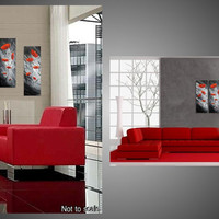 Flower Poppies Abstract Paintings 3 Panel large Canvas Black White Red Modern Art Deco Ready Hang FREE SHIPPING 24 x 24 art by ilonka
