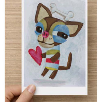 Cute dog notecard art reproduction greeting card nursery wall decor print of original painting acrylic chihuahua love