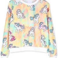 Chic Unicorn Pattern Sweatshirt - OASAP.com