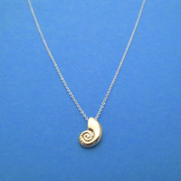 Gold Ariel Voice, Mixed Color, Sterling Silver Chain, Seashell, Necklace