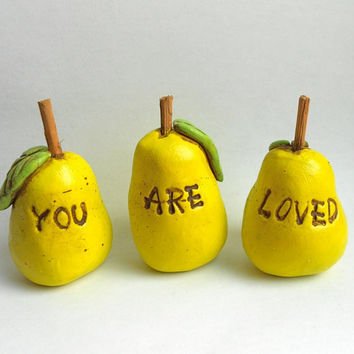 You Are Loved Pear Trio Folk Art Sculptures by indigotwin on Etsy