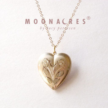"vintage 24"" 18K yellow gold fill heart etched sweet Victorian Romantic Art Noveau picture locket floral flower wild rose engraving moonacres"