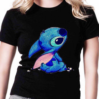 Disney Stitch Ohana TV Womens T Shirts Black And White