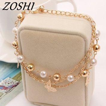 Bohemian Gold Color Chain Multilayer Beads Stretch Charm Bracelet