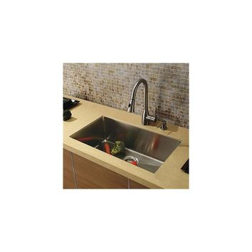 Vigo 32'' x 19'' Single Bowl Kitchen Sink with Faucet and Soap Dispenser