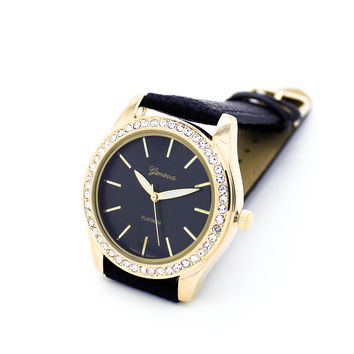 Rhinestones strap watch (4 colors)