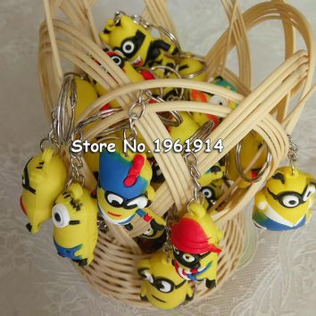 FREE SHIPPING BY DHL 200pcs/lot Plastic 3D New Design Minion Keychains Novelty Toy Keyrings for Kids Party Favor