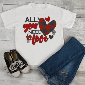 Kids Valentine's Day T Shirt All You Need Is Love Plaid Valentine Heart Shirt Valentines Tee Toddler Boy's Girl's