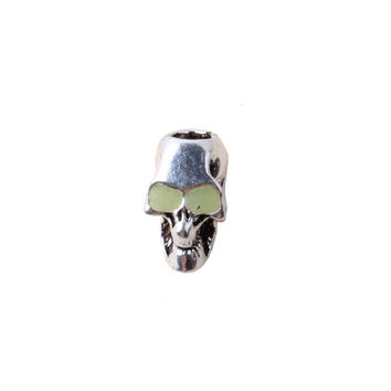 paracord  accessories skull alloy bead pendant  for Paracord Bracelet the eyes glow in the dark