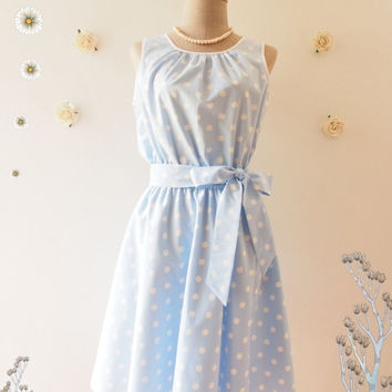 Blue Party Dress Bridesmaid Dress Swing Dress Baby Blue Dress Polka Dot Blue Retro Dress Tea Dress Party Dress Dancing Dress -XS-XL,Custom