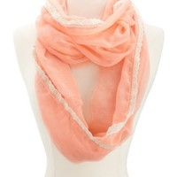 Crochet Trim Infinity Scarf: Charlotte Russe