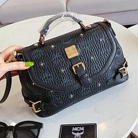 MCM Popular Women Shopping Leather Handbag Shoulder Bag Crossbody Satchel Black