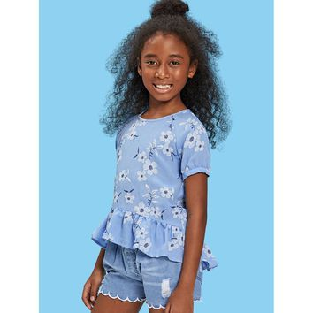 Girls Floral Embroidered Keyhole Back Ruffle Hem Top