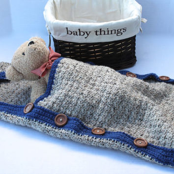 Brown Tweed Baby Boy Hooded Sleep Sack - Baby Swaddle