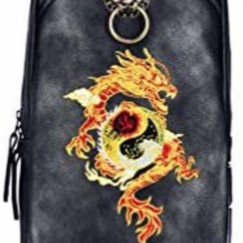 MM Chinese Embroidery PU Leather Sling Bag Black Outdoor Daypack Crossbody