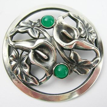 Sterling Silver Brooch with Calla Lilies and Green Chrysoprase Bezel-set Cabochons, Vintage 2-Inch Flower Brooch, Art Nouveau-style Pin Gift