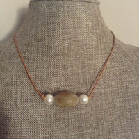 Leather And Pearl Necklace With Agate Stone Leather Freshwater Pearl