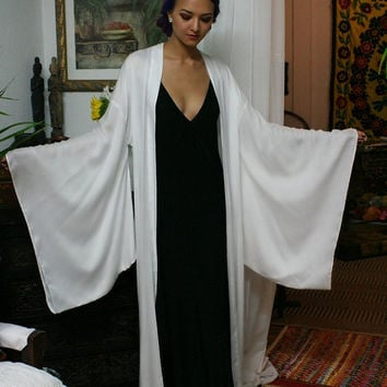 Bamboo Kimono Robe Natural Fiber White Sleepwear Lingerie Bamboo Robe Bridal Wedding Robe