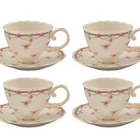 Gracie China Pink Petite Fleur Porcelain 7-Ounce Cup and Saucer, Set of 4
