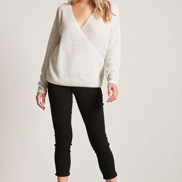 Surplice Purl Knit Sweater