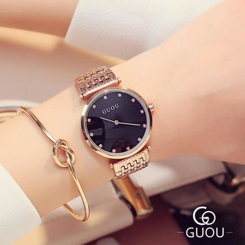 GUOU Rose Gold Watch Top Brand Luxury Diamond Ladies Watch Women Watches Women's Watches Clock saat relogio montre reloj mujer