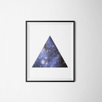 Geometric Triangle Galaxy Art Print - Printable Decor