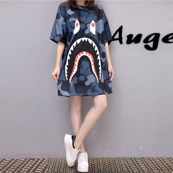 Fashion Casual Multicolor Cartoon Pattern Print Short Sleeve Long T-shirt Loose Mini Dress