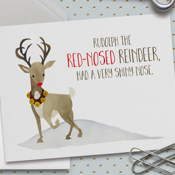 Rudolph Christmas Card, Rudolph the Red-Nosed Reindeer, Merry Christmas Card, Season's Greetings, Holiday Greetings, 5.5 x 4.25 Inch (A2)