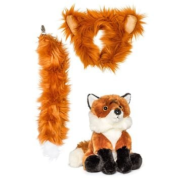 Stuffed Plush Red Fox Ears Headband and Tail Set with Baby Plush Toy Red Fox Bundle for Pretend Play Animals Dress Up