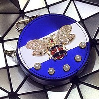 """GUCCI"" New Popular Women Chic Pearl Bee Bag Hanging Drop Car Key Chain Bag Zero Wallet Accessories Couple Gift Blue"
