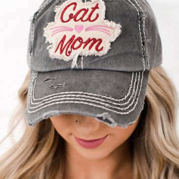 Cat Mom Graphic Distressed Hat (Black)