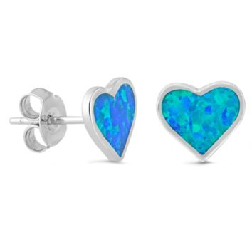 .925 Sterling Silver Small Heart Blue Fire Opal Ladies and Girls Stud Earrings