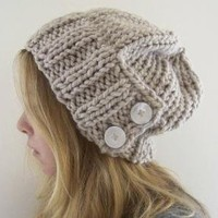 augustyn a slouchy hand knit hat in linen by bungaloe on Etsy