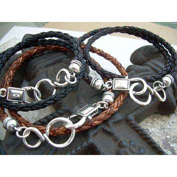 Double Wrap Braided Leather Infinity Bracelet