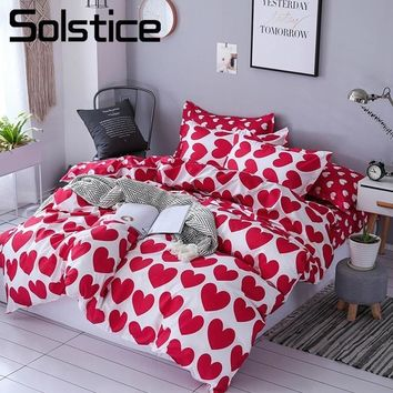 Solstice Home Textile Hot Love Bedding Sets Girl Adult Teen Linens Red Heart Fashion Duvet Cover Pillowcase Flat Bed Sheet Queen