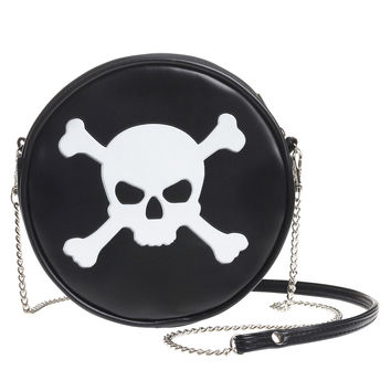 White Skull & Cross Bones Round Embossed Purse Shoulder Bag