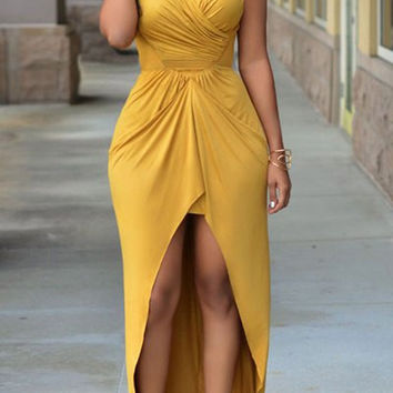Yellow Halter Sleeveless Cut Out Asymmetric Dress