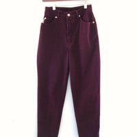 Vtg Bongo Overdyed Plum Purple  High Waist Colored Denim Skinny Jeans.  XXS XS 23 in. Free USA Shipping. sixcatsfunvintage