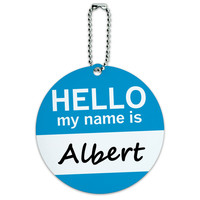 Albert Hello My Name Is Round ID Card Luggage Tag