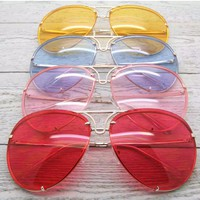 Oversize Metal Frame Colored Lens Aviator Sunglasses