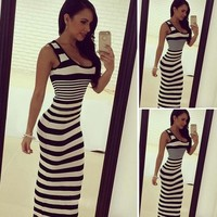 Women Dress Boho Long Maxi Party Beach Vintage Striped Sundress