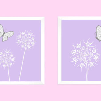 White Floral with Gray Butterflies on Lavender CUSTOMIZE YOUR COLORS, 8x10 Prints, Nursery Decor Print Baby Room Bathroom Livingroom Art