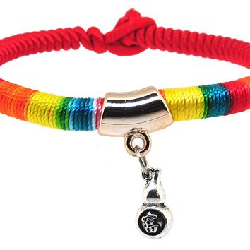Braided Rainbow Kabbalah Red String Bracelet of Protection for Good Luck Fortune Health Love