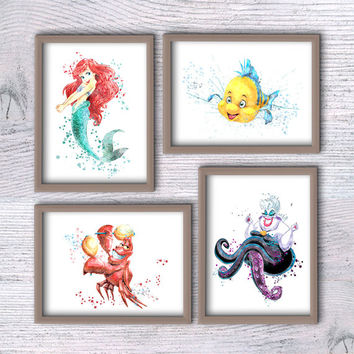 Little Mermaid Ariel watercolor set Flounder Sebastian illustrations Disney watercolor Ariel and friends poster Disney wall art print V197