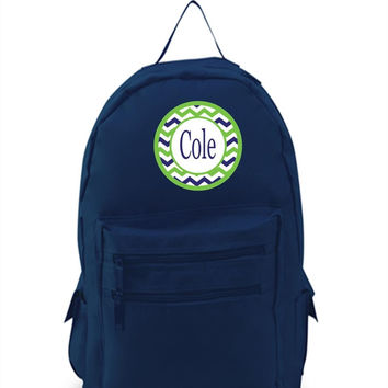 Blue/Green Chevrons on Personalized Navy Blue Backpack