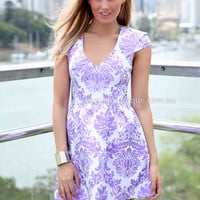 GOLD FOIL DRESS , DRESSES, TOPS, BOTTOMS, JACKETS & JUMPERS, ACCESSORIES, 50% OFF SALE, PRE ORDER, NEW ARRIVALS, PLAYSUIT, COLOUR, GIFT VOUCHER,,Print,Purple,SHORT SLEEVE Australia, Queensland, Brisbane