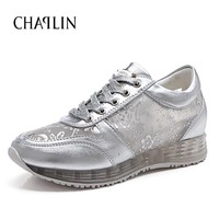 Hot New 2016 Summer Air Mesh Women's Casual Shoes Slip-on Cut-Outs Breathable Platform Shoes Casual White Sliver Shoes 758